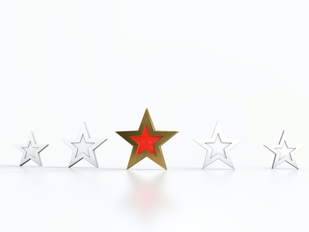 Four white stars and one golden and red star in center. Stock Photo - 13002767
