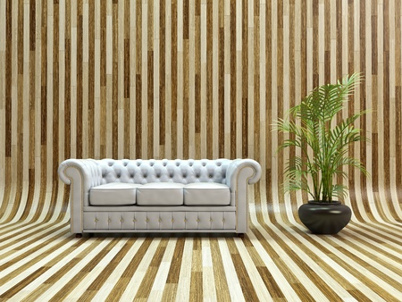 White classic leather sofa on curved parquet. photo