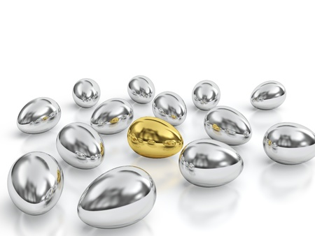 special steel: Golden egg surrounded by silver eggs.