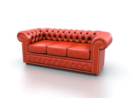 chesterfield: Red classic leather sofa isolated on white background  Stock Photo