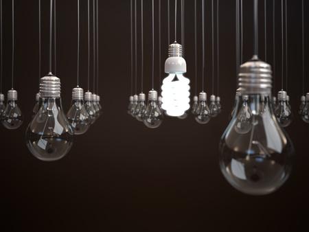 electricity generation: Energy saving light bulb among simple light bulbs  Stock Photo