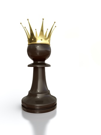 preferment: 3D render of black pawn with golden crown isolated on white background