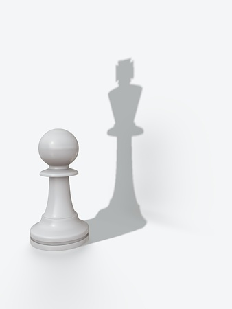 different strategy: White pawn with kings shadow pawns pride Stock Photo