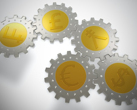 3D render of cogwheel shaped coins Stock Photo - 13002955