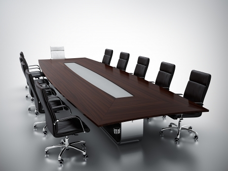 CONFERENCE TABLE: 3d render of empty conference room