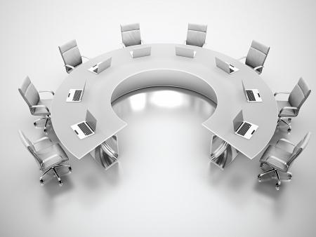 3D render van matte glazen vergadertafel met witte leren stoelen rond