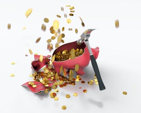 3D render of broken piggy bank and golden coins flying around