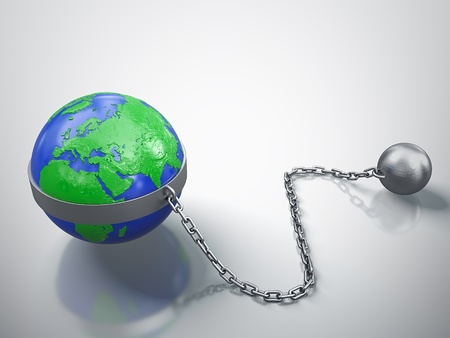 3D render of Earth in chains isolated on white background Stock Photo - 13222672