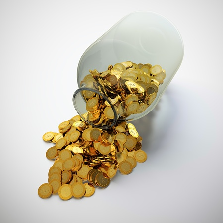 3D render of glass jar full of golden coins  photo