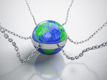 3D render of Earth in chains isolated on white background  photo