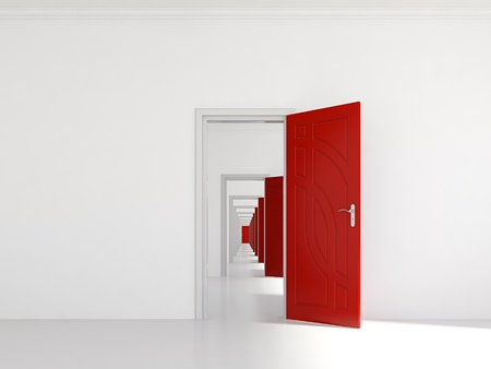 3d render of hallway with many red doors Stock Photo
