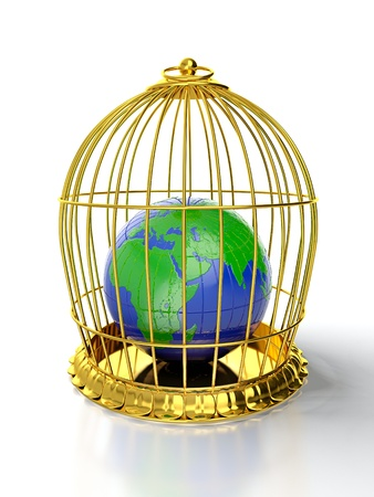 confined space: 3D render of earth trapped in golden cage