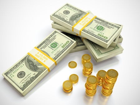 3D render of dollars and golden coins stack  photo