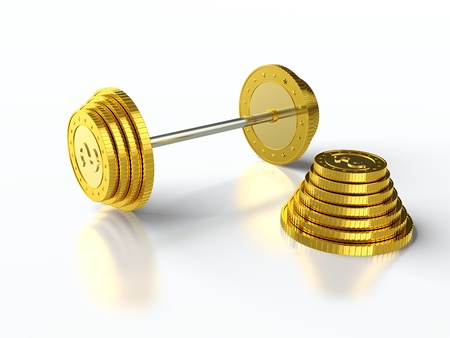 3D render of barbell made of golden coins  photo