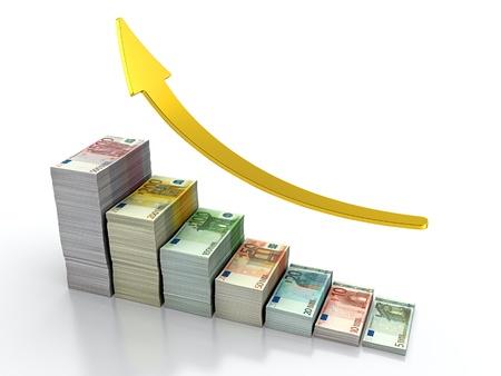 dinero euros: 3D render de pila cada vez mayor de billetes de euro Foto de archivo