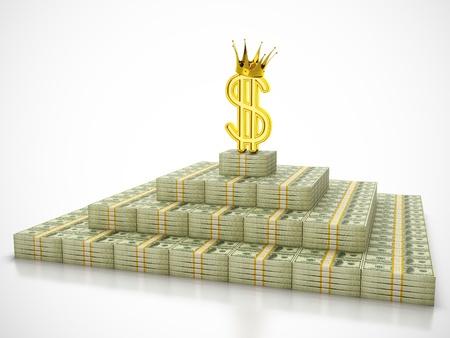왕: 돈 더미의 꼭대기에 서 달러 기호 왕의 3D 렌더링
