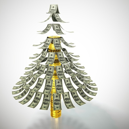 spruce tree: Money tree made of dollar bills and with trunk made of golden coins