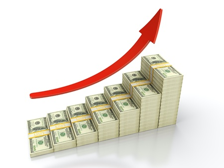 height chart: 3D render of growing stack of dollar bills