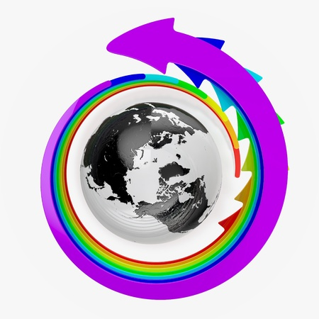3D render of Earth with rainbow arrows around it photo