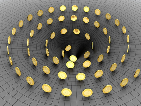 black hole: Golden coins falling in the black hole