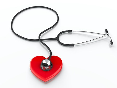 Red heart symbol and stethoscope listening it Stock Photo - 13514594