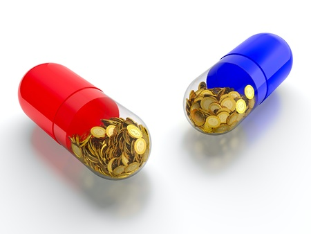 reform: Red and blue pills with golden coins on white background