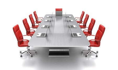 3D rendering di tavolo da conferenza con sedie in pelle rossa.
