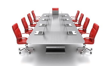 directors: 3D render of conference table with red leather chairs.
