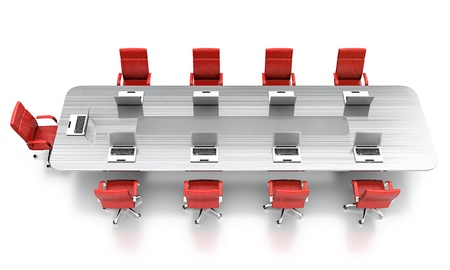 conference room table: 3D render of conference table with red leather chairs.