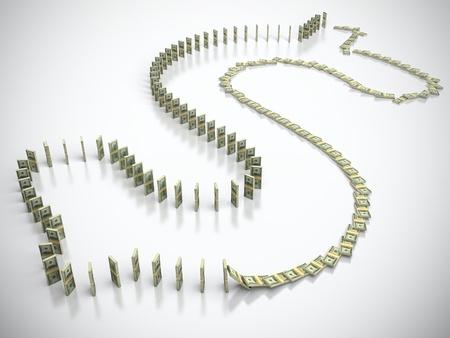 Bundle of 100 dollar bills in form of dollar sign falling down photo