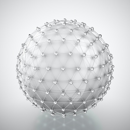 Abstract render ofwhite sphere in metal cage on white background photo