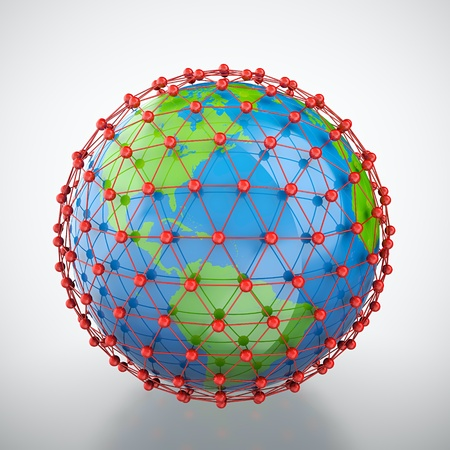 3D render of earth trapped in red cage Stock Photo
