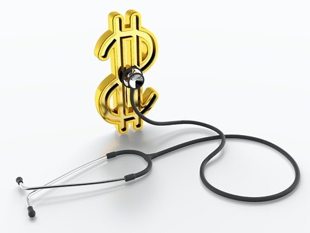 medical bill: Dollar symbol and stethoscope listening it on white background Stock Photo