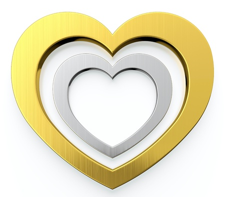 Golden heart and silver heart in center of it on white background Stock Photo - 13515384
