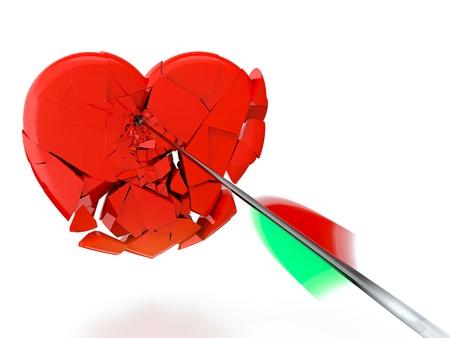 3d render of black arrow breaking heart on white background photo