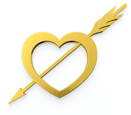 love target: Golden heart and arrow sign on white background