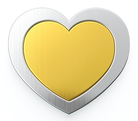 Golden heart in center of silver heart on white background photo