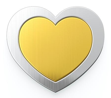golden heart: Golden heart in center of silver heart on white background Stock Photo