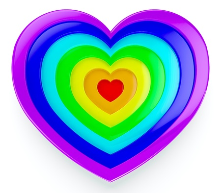 3d visualization of rainbow heart on white background Stock Photo - 13515330