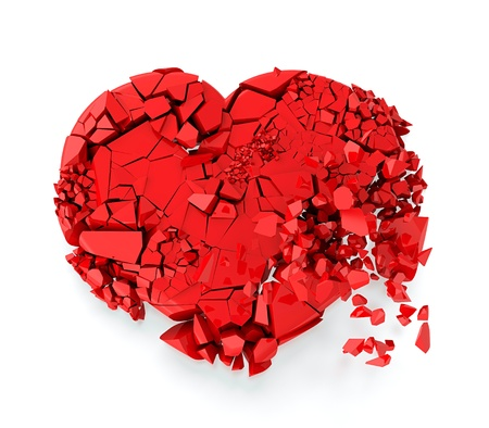 broken relationship: Red heart fallin to the ground and breaking in many pieces Stock Photo