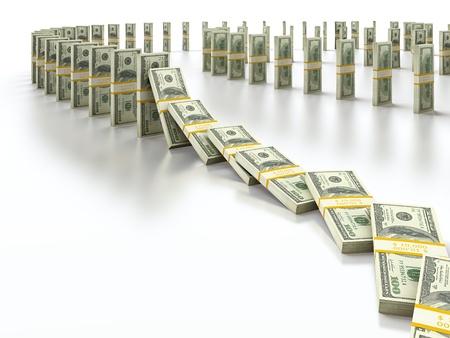 power of money: Domino bundle of 100 dollar bills falling down