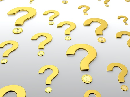 uncertainty: Golden question sign with golden coin on grey background Stock Photo