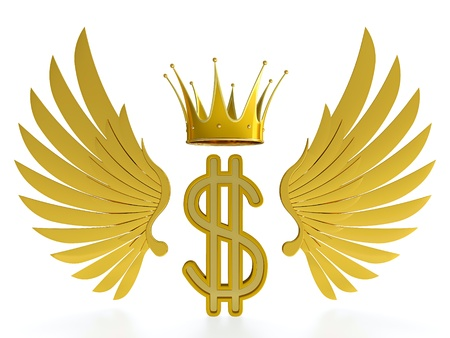 angel white: Golden dollar symbol with wings and crown on white background