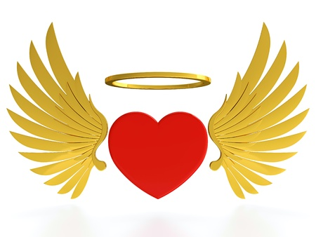 Red heart with golden wings and halo on white background