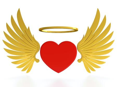 Rood hart met gouden vleugels en halo op een witte achtergrond Stockfoto