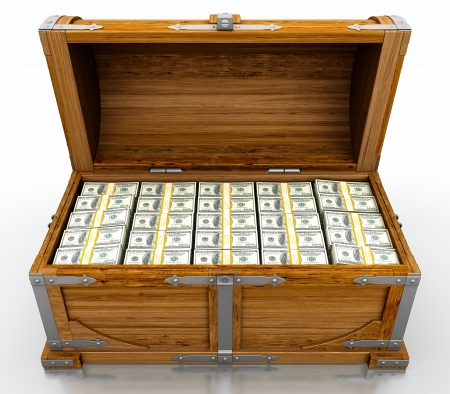 Treasure chest full of dollar bills on white background photo