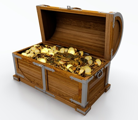 plenty: Treasure chest full of golden coins on white background Stock Photo