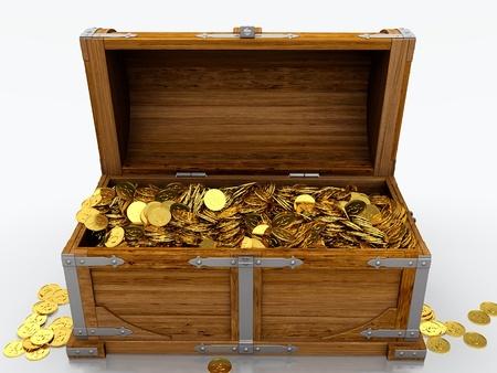 cofre del tesoro: Del tesoro lleno de monedas de oro en el pecho en el fondo blanco