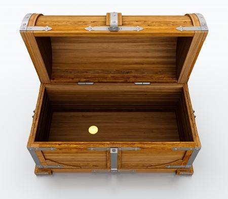 cofre del tesoro: Cofre del tesoro vacío aislado sobre fondo blanco Foto de archivo