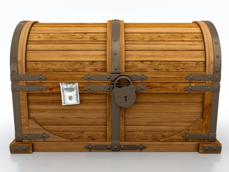 Locked treasure chest isolated on white background photo